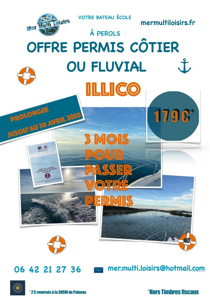 Permis bateau côtier Montpellier